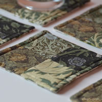Green William Morris fabric coasters