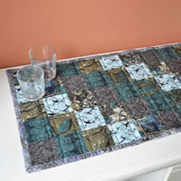 Blue and grey table runner
